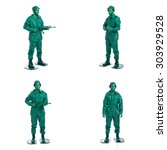 four man on a green toy soldier ... | Shutterstock . vector #303929528