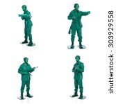 four man on a green toy soldier ... | Shutterstock . vector #303929558