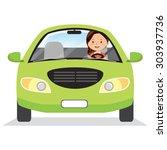 happy woman driving a car....