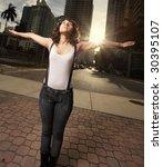 woman extending her arms | Shutterstock . vector #30395107