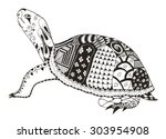 Stock vector turtle zentangle stylized vector illustration freehand pencil 303954908