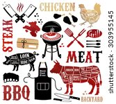 barbecue pattern with meaty... | Shutterstock . vector #303955145