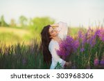 girl with closed eyes  standing ... | Shutterstock . vector #303968306