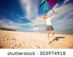 cheerful young girl with... | Shutterstock . vector #303974918