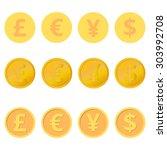 set of coins three variations... | Shutterstock .eps vector #303992708