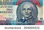 2 Barbadian Dollar Bank Note....