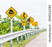 signs on curves and slopes road ... | Shutterstock . vector #304016285