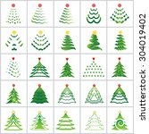 christmas tree icons set  ...