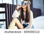 funny stylish sexy smiling... | Shutterstock . vector #304030112