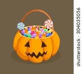 halloween pumpkin candy basket. ... | Shutterstock .eps vector #304035056