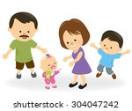 first steps baby girl and... | Shutterstock .eps vector #304047242