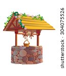 beautiful decorated brick well | Shutterstock . vector #304075526