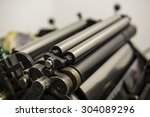 steel cylinders of an old press ... | Shutterstock . vector #304089296