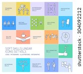 soft skills linear vector icons ... | Shutterstock .eps vector #304092212