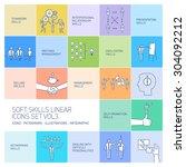 soft skills linear vector icons ... | Shutterstock .eps vector #304092212