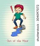 man spill blue color... | Shutterstock .eps vector #304097072