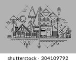vector illustration with line... | Shutterstock .eps vector #304109792