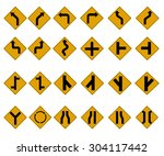 yellow traffic signs icon set....   Shutterstock .eps vector #304117442