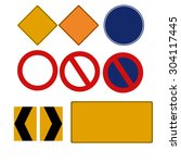 traffic signs icon set. vector    Shutterstock .eps vector #304117445