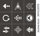 vector arrows icon set on black ... | Shutterstock .eps vector #304123592