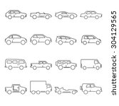 outline car collection icon | Shutterstock .eps vector #304129565