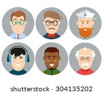 colorful male faces circle... | Shutterstock .eps vector #304135202