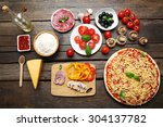 food ingredients for pizza on... | Shutterstock . vector #304137782