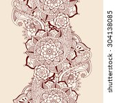 floral mehndi ornamental... | Shutterstock .eps vector #304138085