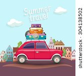 travel by car. flat design with ... | Shutterstock .eps vector #304138502