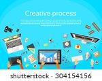 creative process digital... | Shutterstock .eps vector #304154156