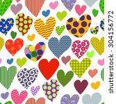 bright multicolored hearts... | Shutterstock .eps vector #304156772