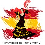 flamenco dancer over spanish... | Shutterstock .eps vector #304170542