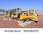 oil field scene  oil pipelines... | Shutterstock . vector #304180292