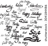 different hand written words... | Shutterstock .eps vector #304184486