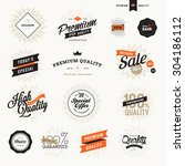 set of vintage premium quality... | Shutterstock .eps vector #304186112