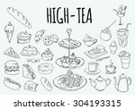 coffee house icons of desserts  ... | Shutterstock .eps vector #304193315