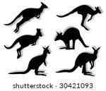 kangaroos in silhouettes in...   Shutterstock . vector #30421093