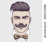 hand drawn portrait of...   Shutterstock .eps vector #304212086