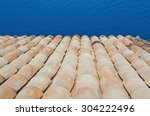 roof tile and ocean background... | Shutterstock . vector #304222496