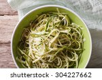 low calorie raw zucchini pasta... | Shutterstock . vector #304227662