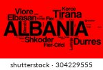 largest cities of albania | Shutterstock . vector #304229555