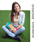 young woman with laptop sitting ... | Shutterstock . vector #304234142