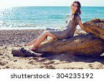 fashion outdoor photo of sexy... | Shutterstock . vector #304235192