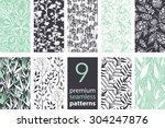 Stock vector vector branches set seamless pattern 304247876