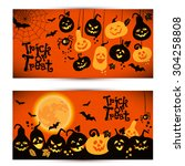halloween background of... | Shutterstock .eps vector #304258808