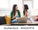 female friends studying at the... | Shutterstock . vector #304261976