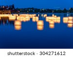 Lantern Floating On Green Lak...