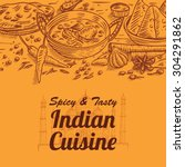 Hand Drawn Of Indian Food And...