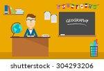 school geography teacher in... | Shutterstock .eps vector #304293206