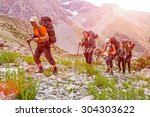 extreme climbers scrambling up. ... | Shutterstock . vector #304303622